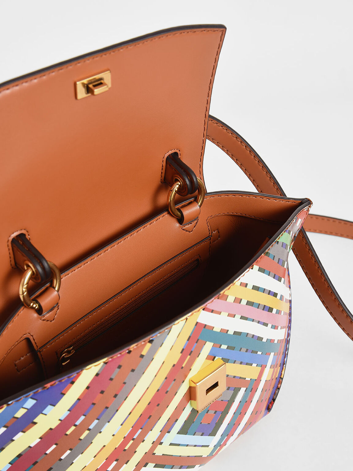 Striped Trapeze Top Handle Bag, Multi, hi-res