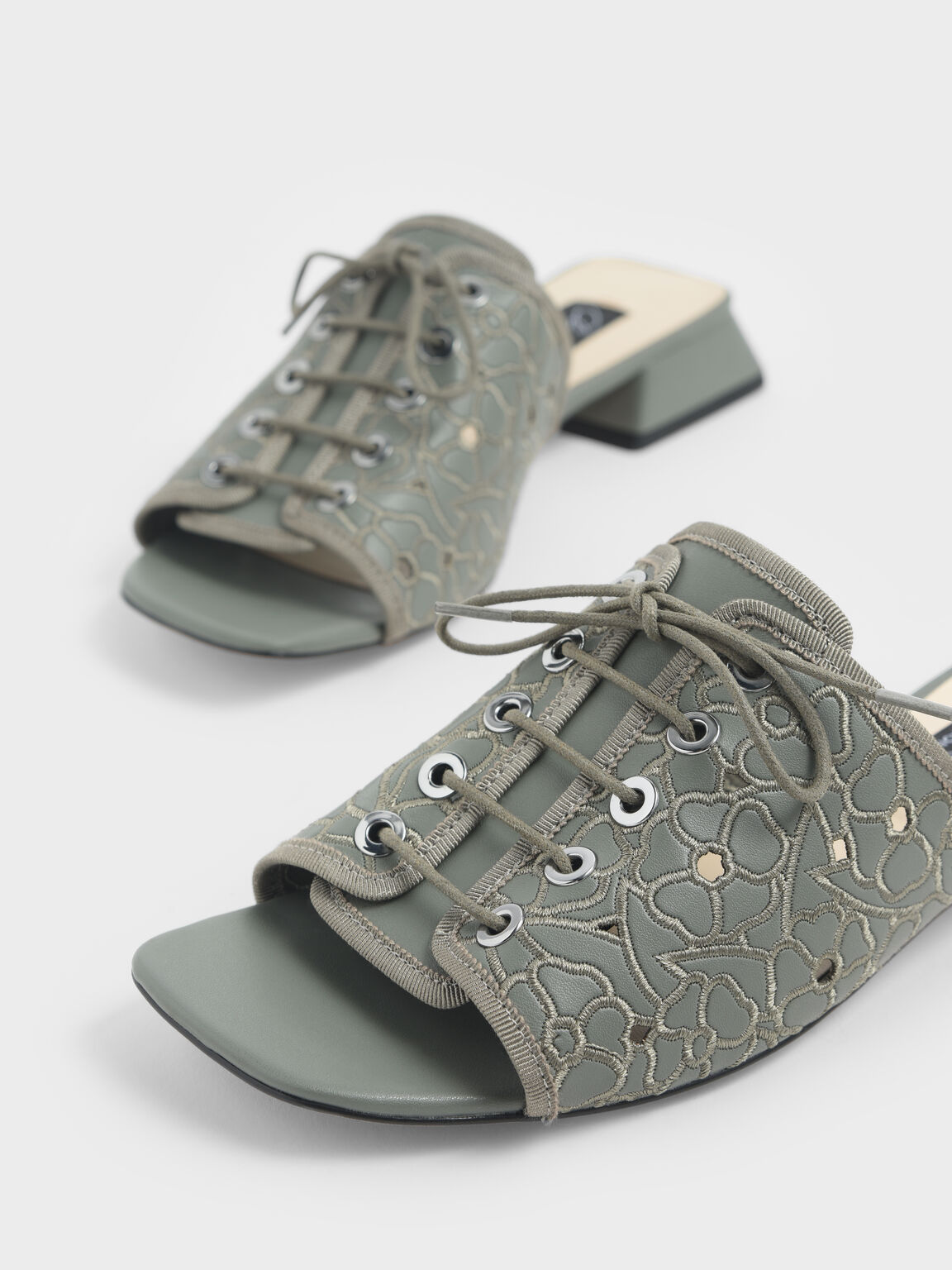 Embroidered Lace-Up Slide Sandals, Sage Green, hi-res