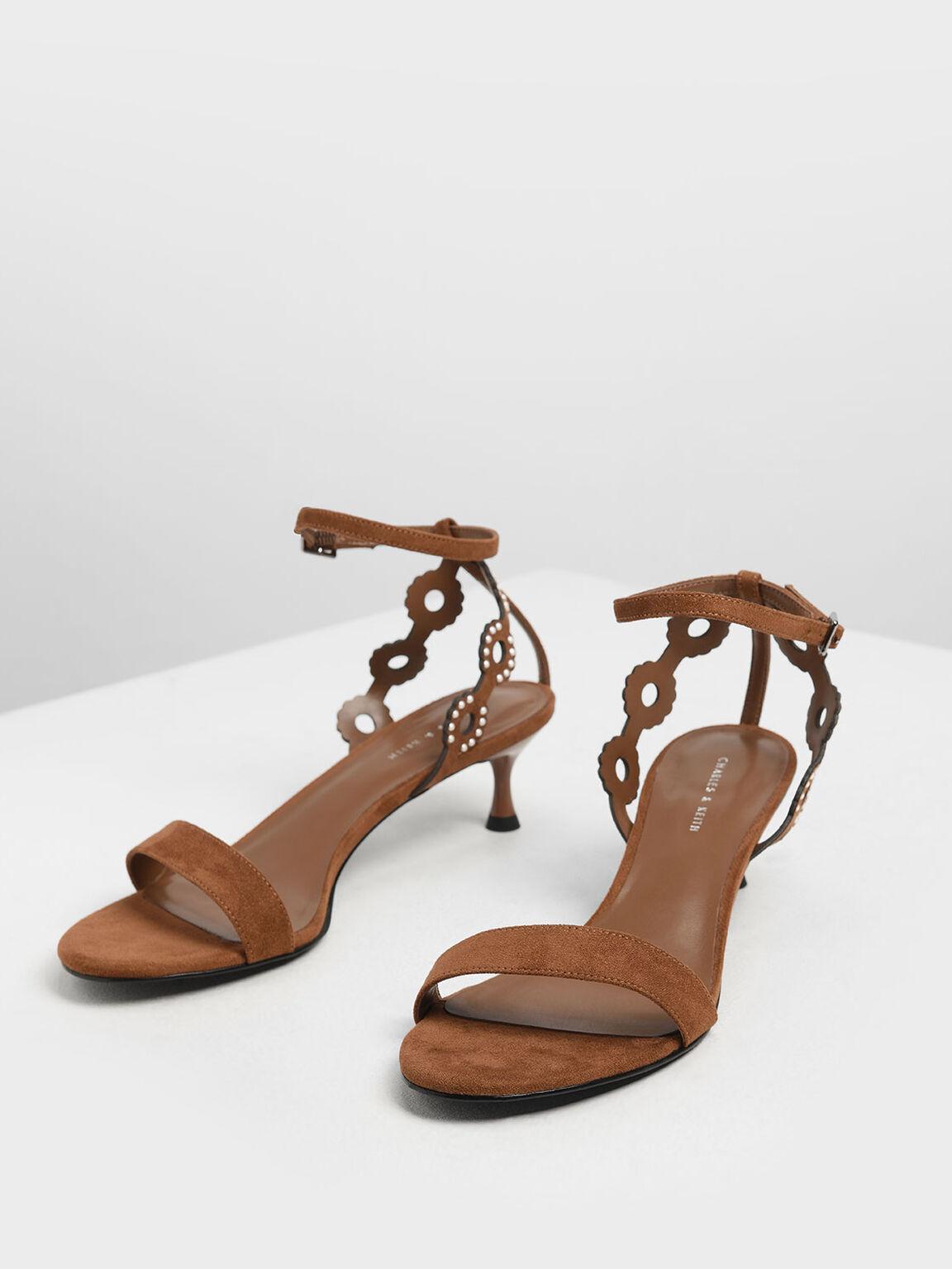 Cut-Out Embellished Kitten Heels, Camel, hi-res