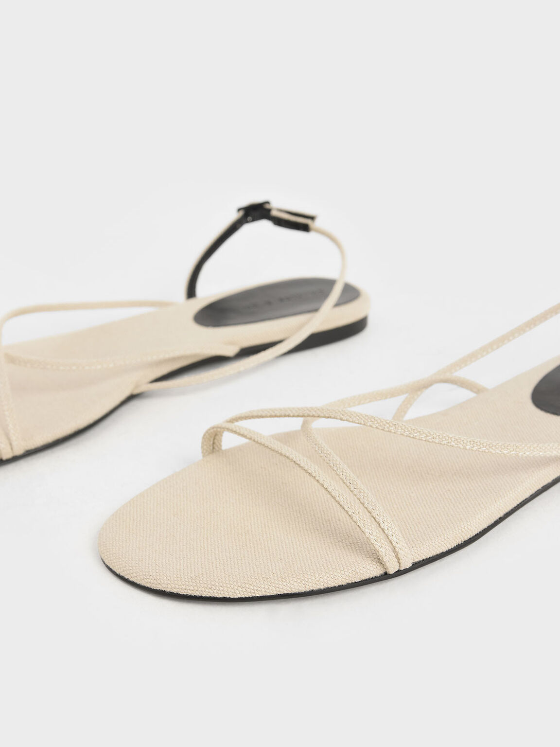 Canvas Strappy Flat Sandals, Beige, hi-res