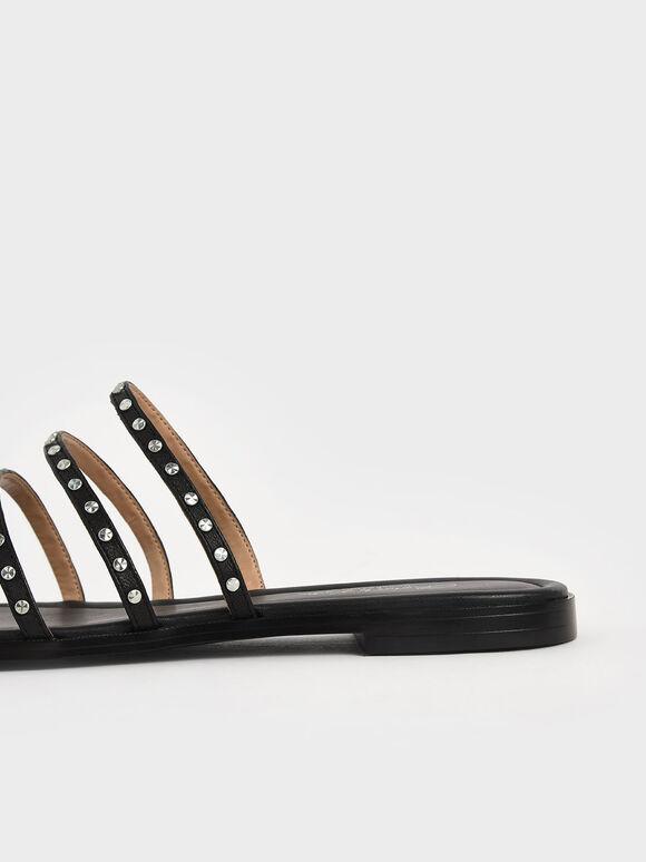 Studded Leather Flat Sandals, Black, hi-res