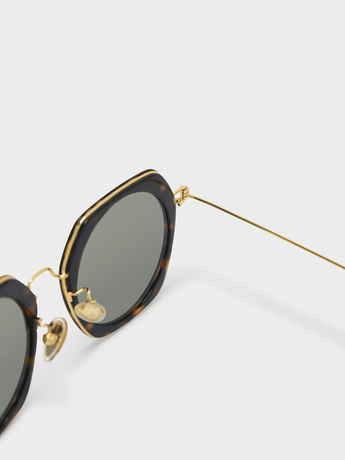 Geometric Frame Sunglasses, T. Shell, hi-res