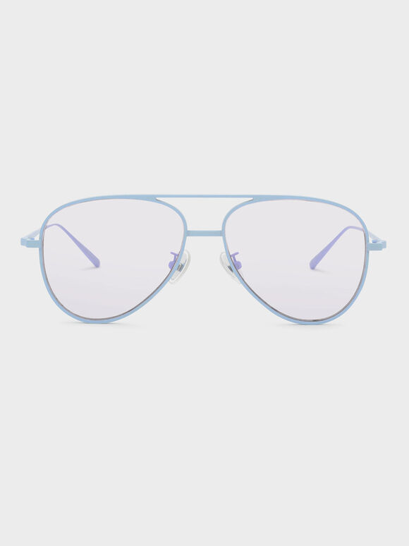 Double-Wired Aviator Shades, Blue, hi-res
