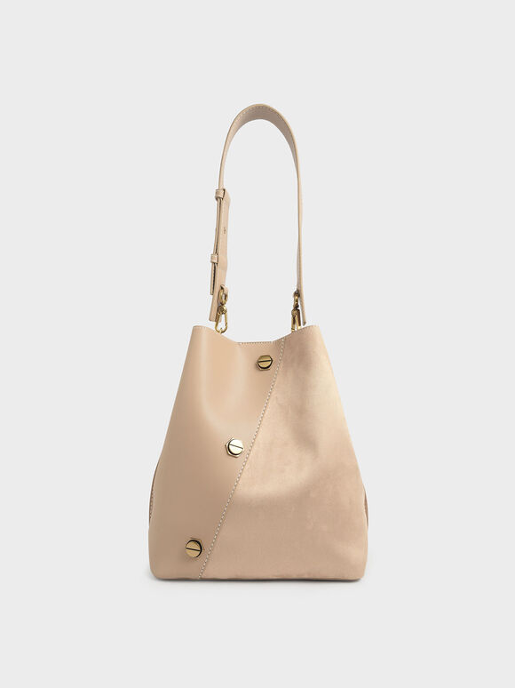 Studded Textured Hobo Bag, Beige, hi-res