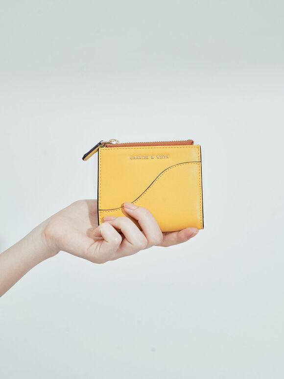 탑 지퍼 미니 월렛, Yellow, hi-res