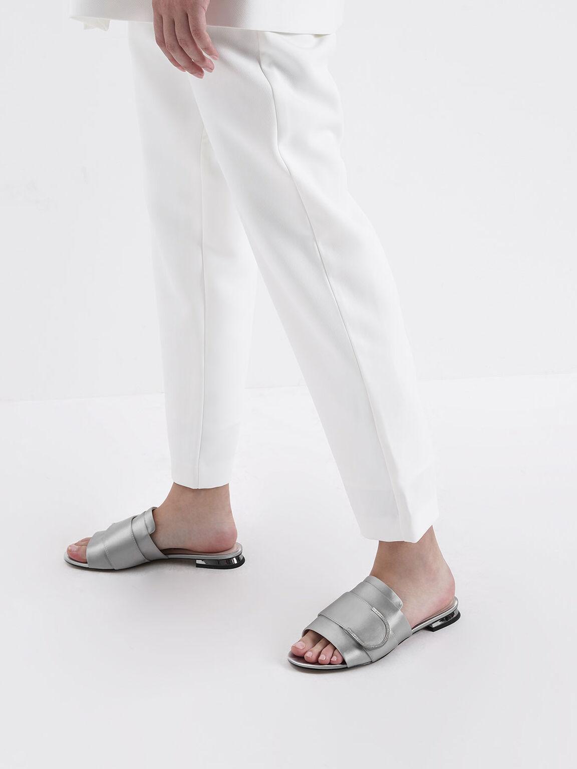 Satin Gem Encrusted Buckle Slide Sandals, Silver, hi-res
