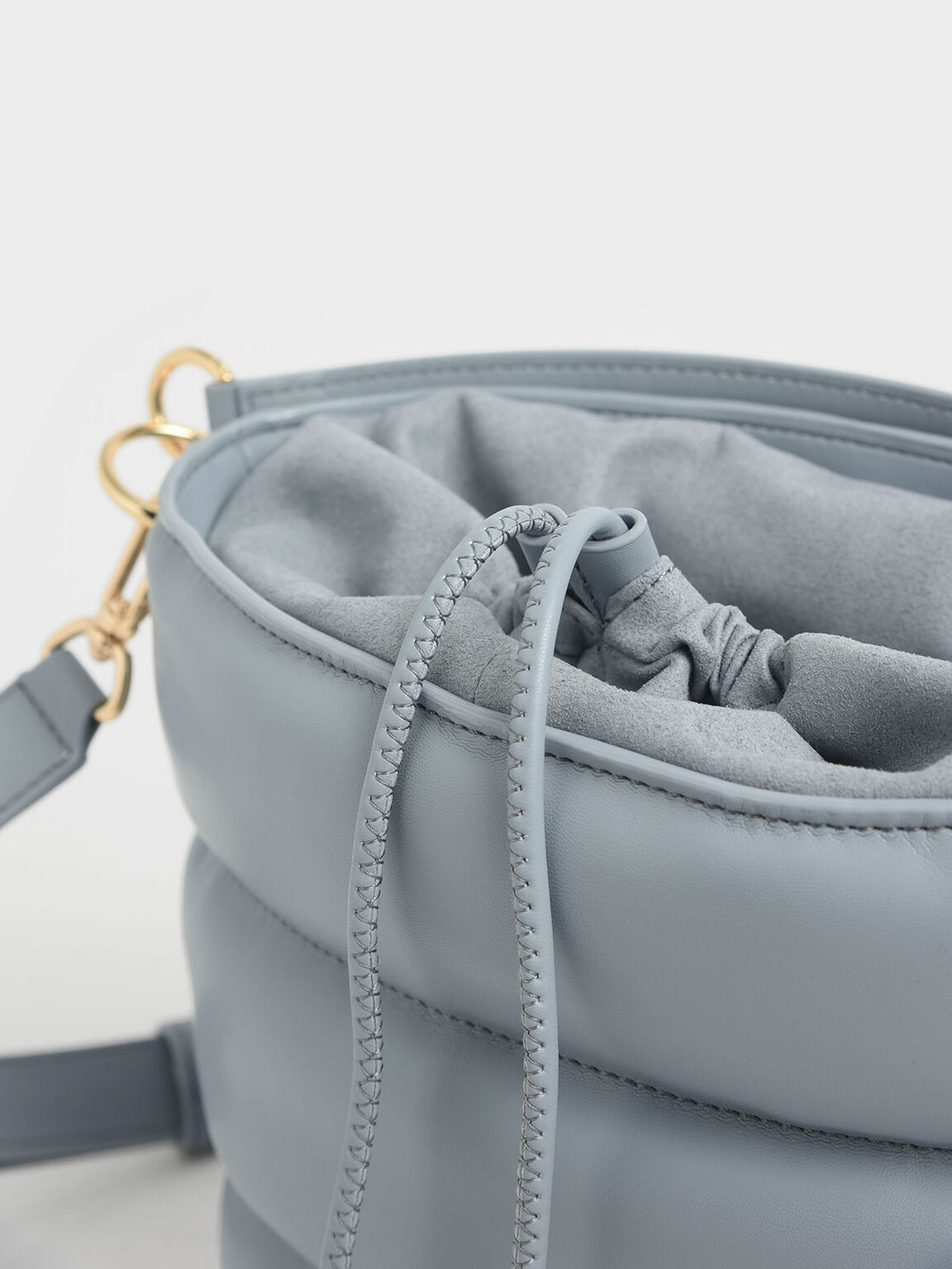 Quilted Drawstring Bucket Bag, Moss, hi-res