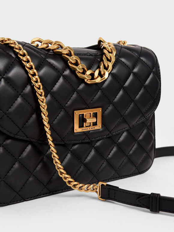 Quilted Turn-Lock Clutch, Black, hi-res