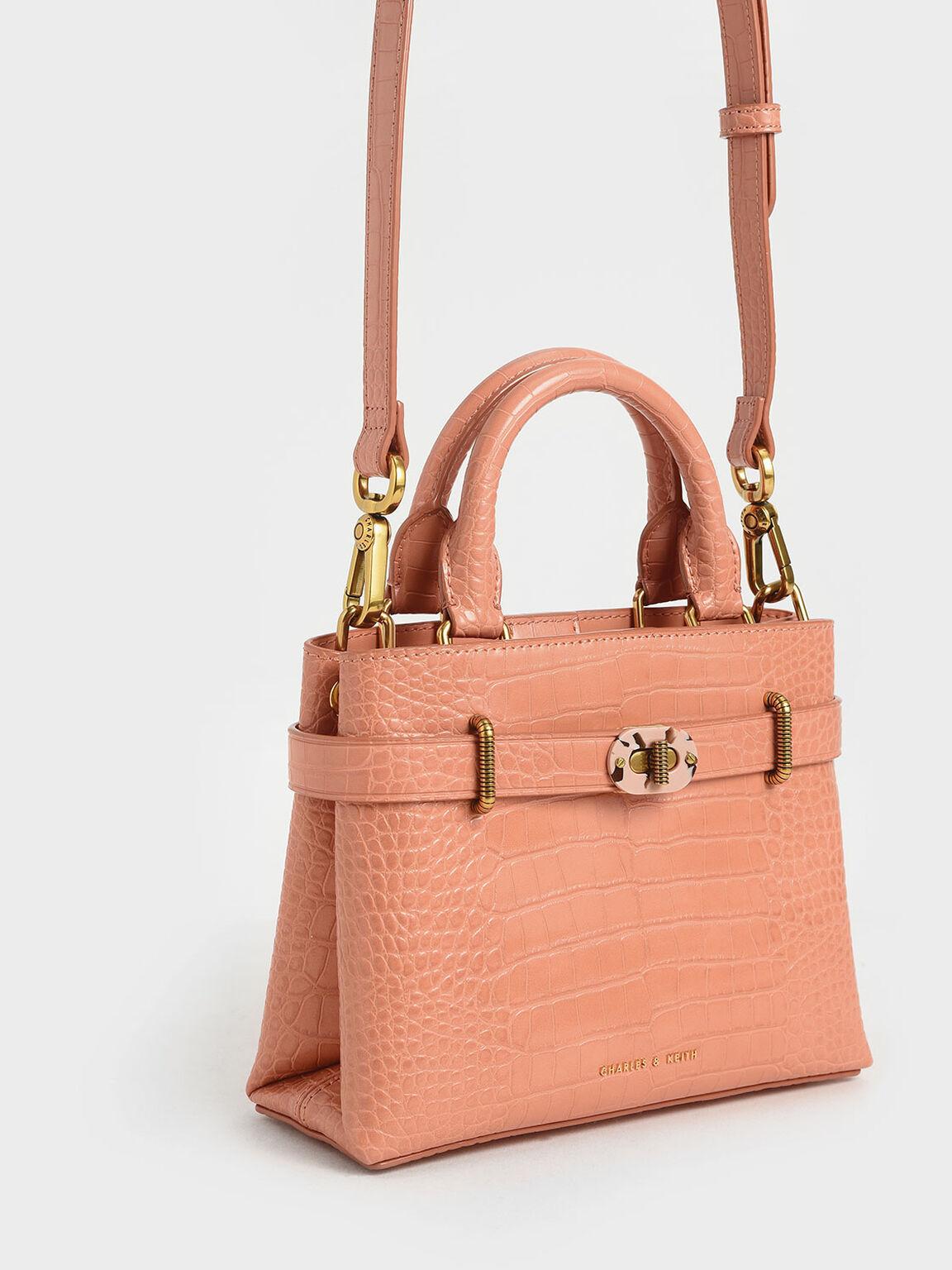 Croc-Effect Turn-Lock Tote Bag, Peach, hi-res
