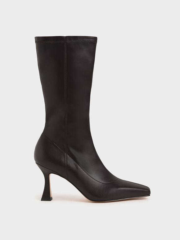 仿舊錐形跟長靴, 深咖啡, hi-res
