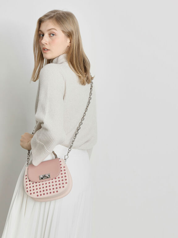 Metal Top Handle Bag, Light Pink