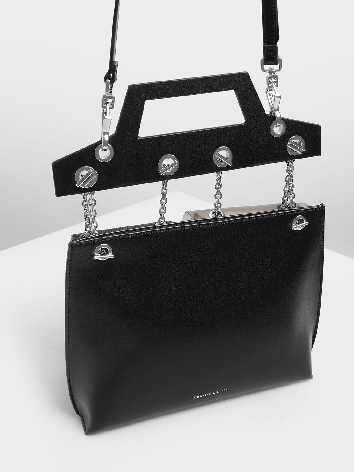 Chain Link Triple-Compartment Bag, Black, hi-res