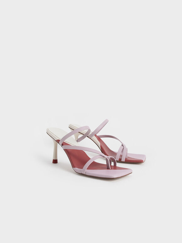Strappy Toe Ring Sandals, Lilac, hi-res