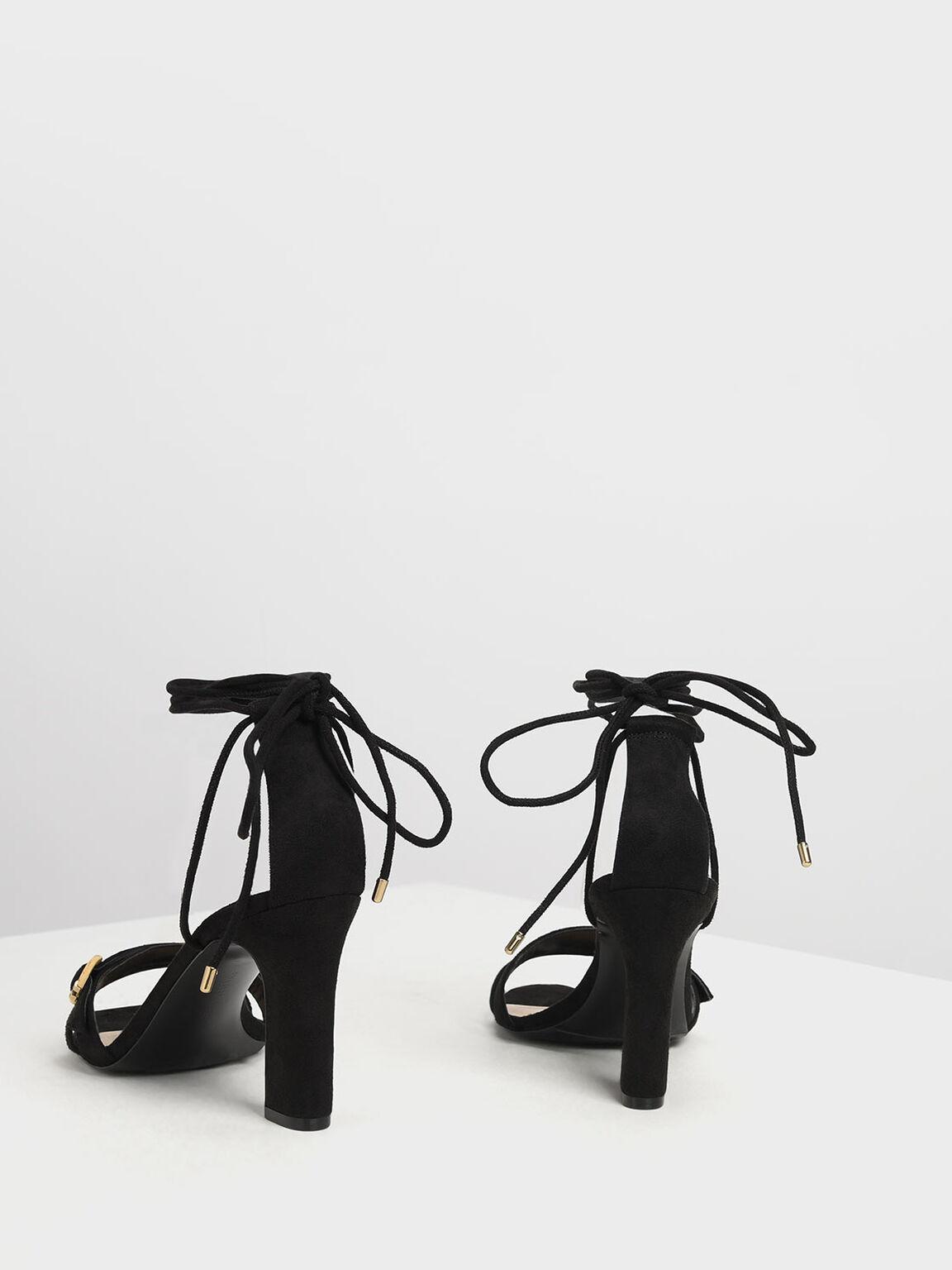 扣環綁帶高跟涼鞋, 黑色, hi-res
