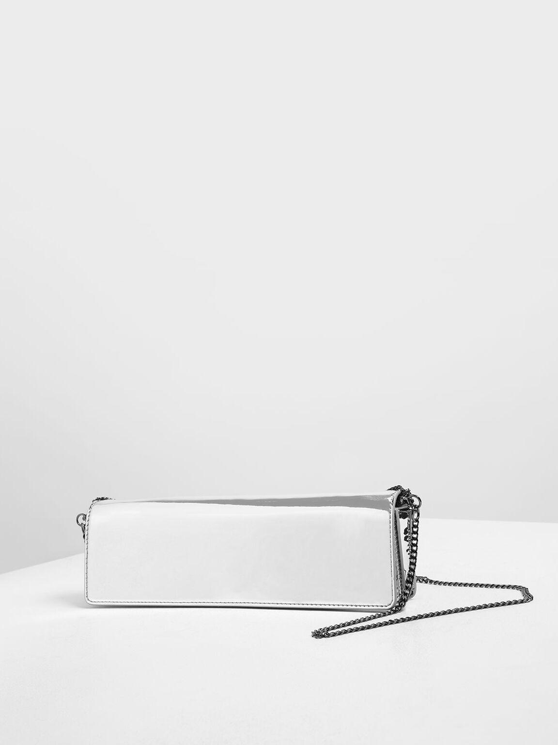 Chunky Chain Handle Metallic Bar Clutch, Silver, hi-res