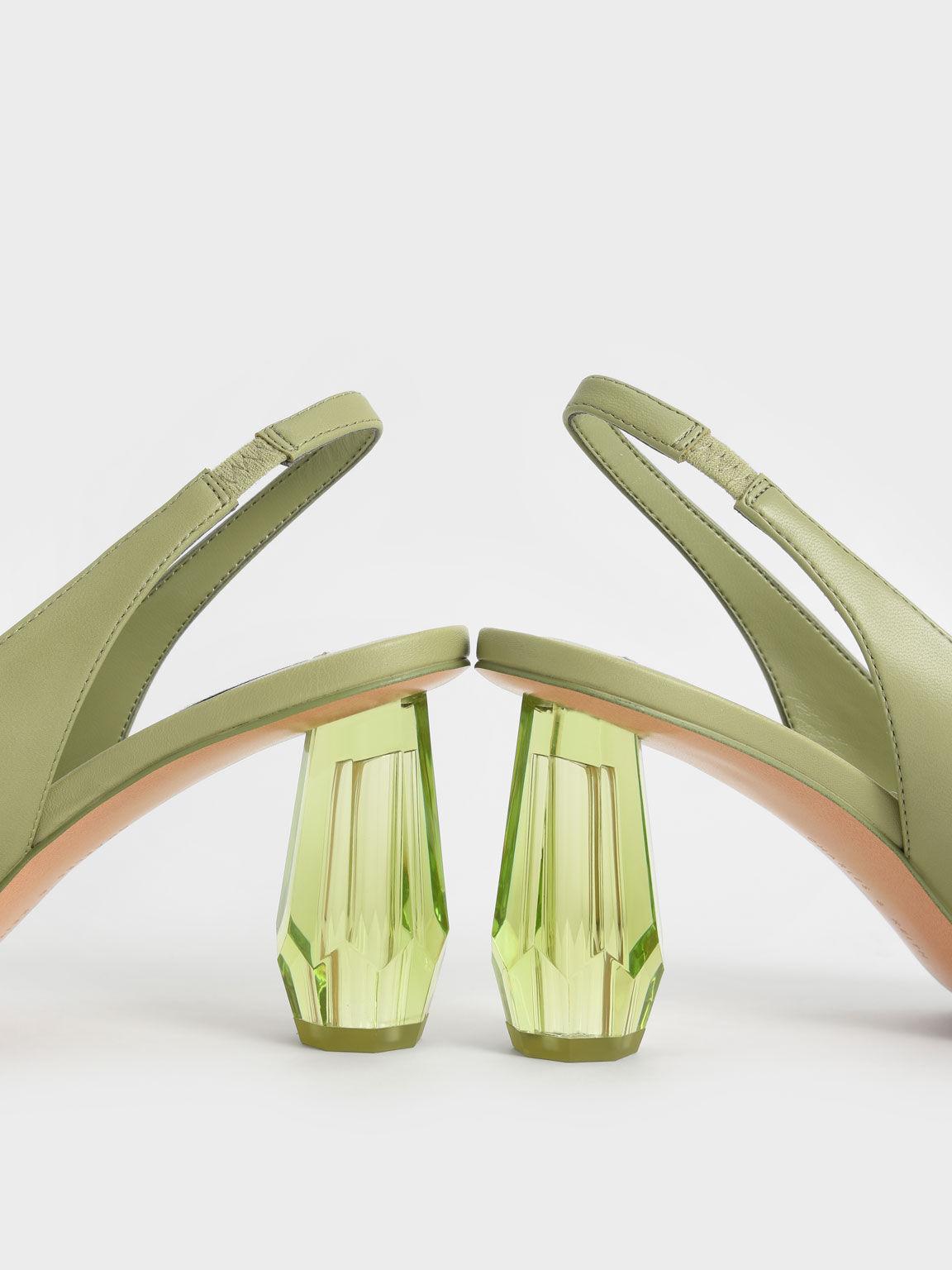 Sculptural Heel Slingback Pumps, Sage Green, hi-res