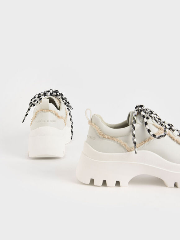 Microsuede Printed Lace Trainers, White, hi-res