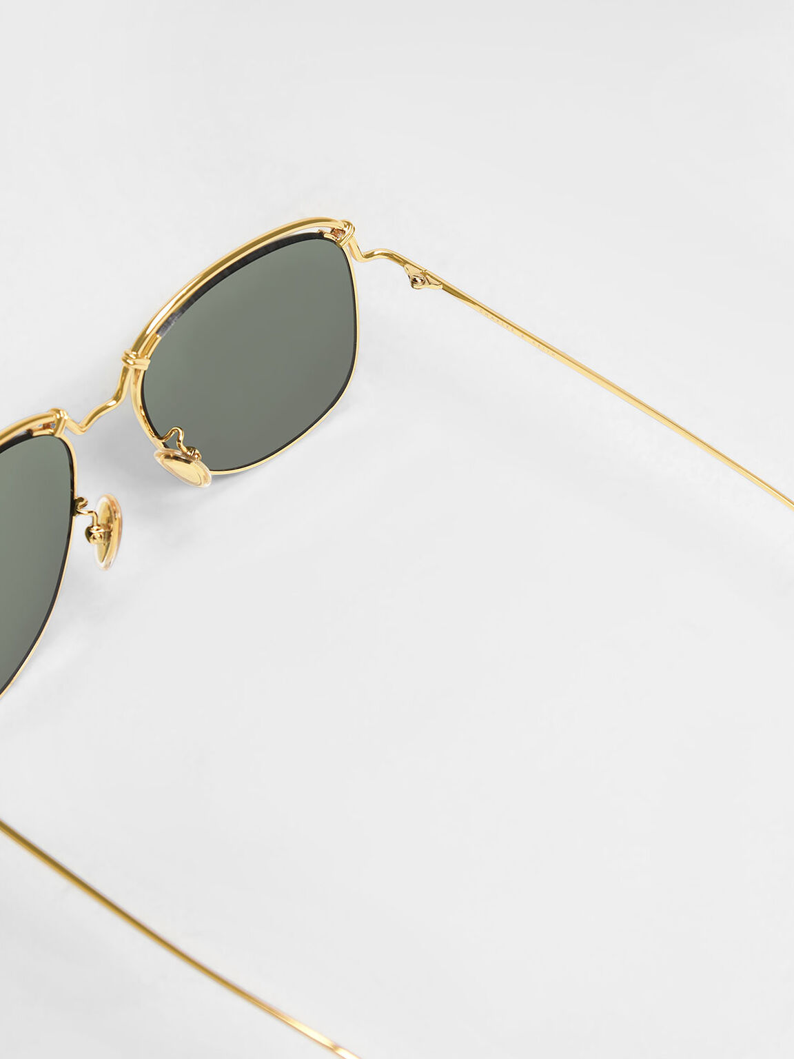Half Wire Frame Sunglasses, Gold, hi-res