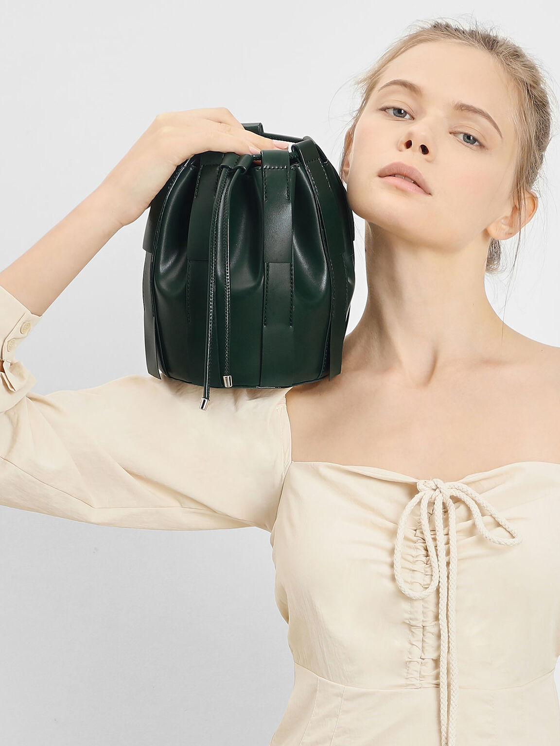 Fringe Bucket Bag, Dark Green, hi-res