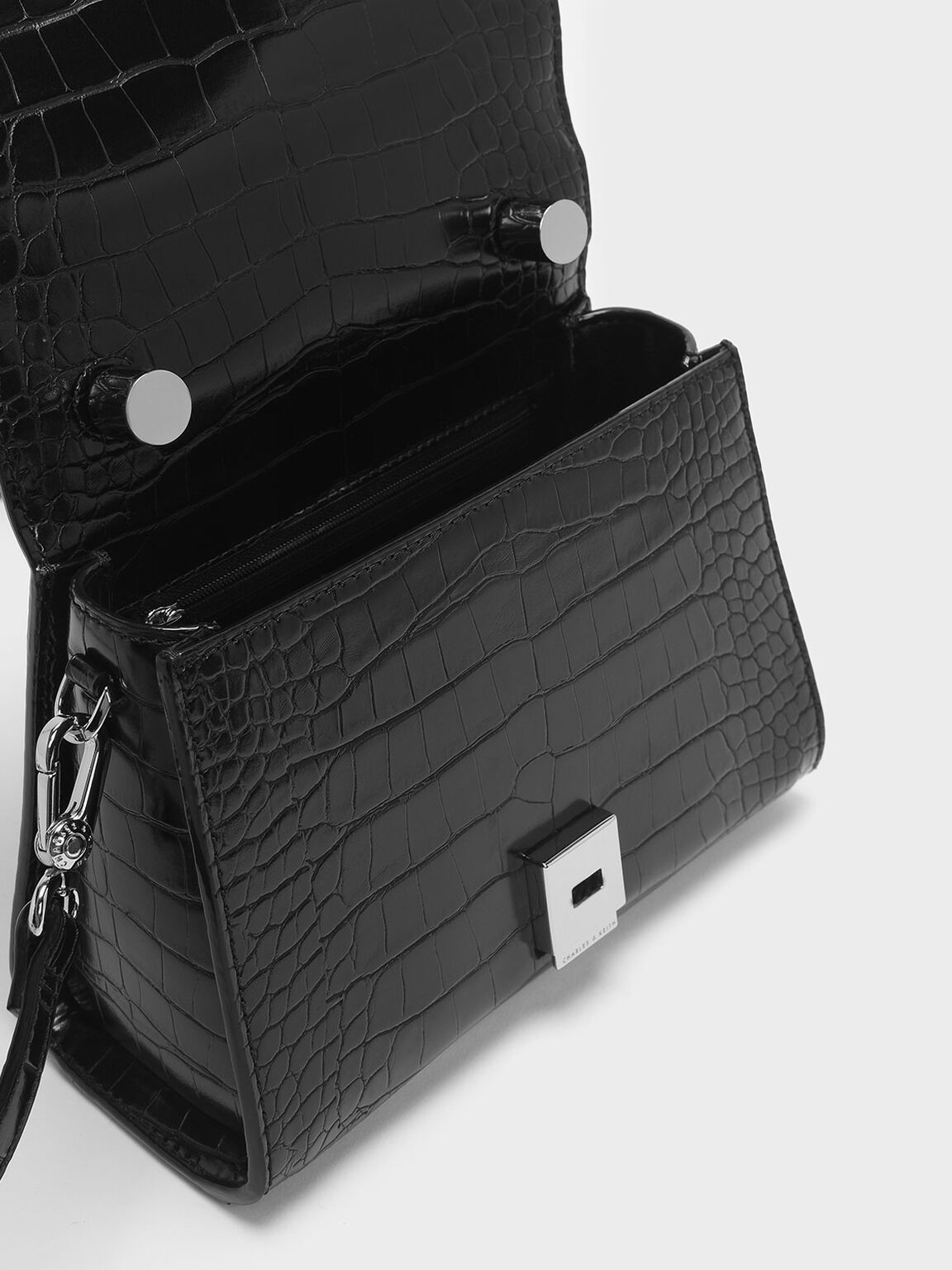 Croc-Effect Structured Top Handle Bag, Black, hi-res