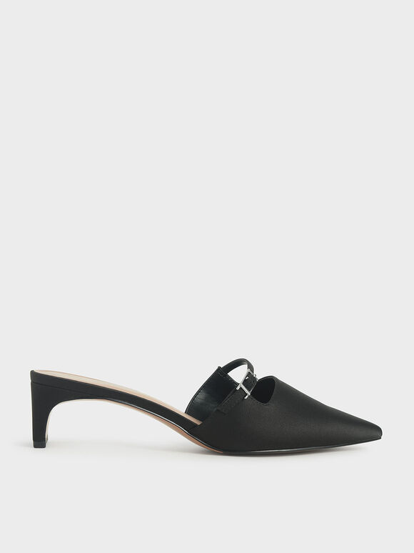 Satin Cut-Out Mules, Black, hi-res
