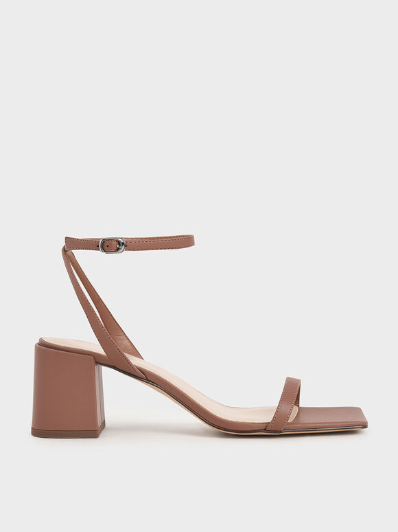 Ankle Strap Block Heel Sandals, Brick, hi-res