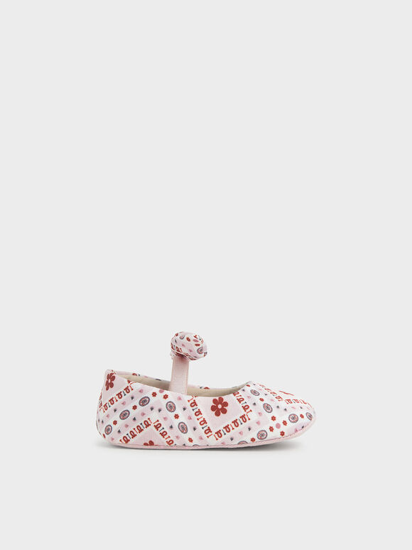 Summer 2020 Responsible Collection: Baby Girls' Bandana Print Bow Ballerinas, Pink, hi-res