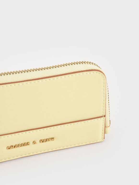 Top Zip Card Holder, Butter, hi-res