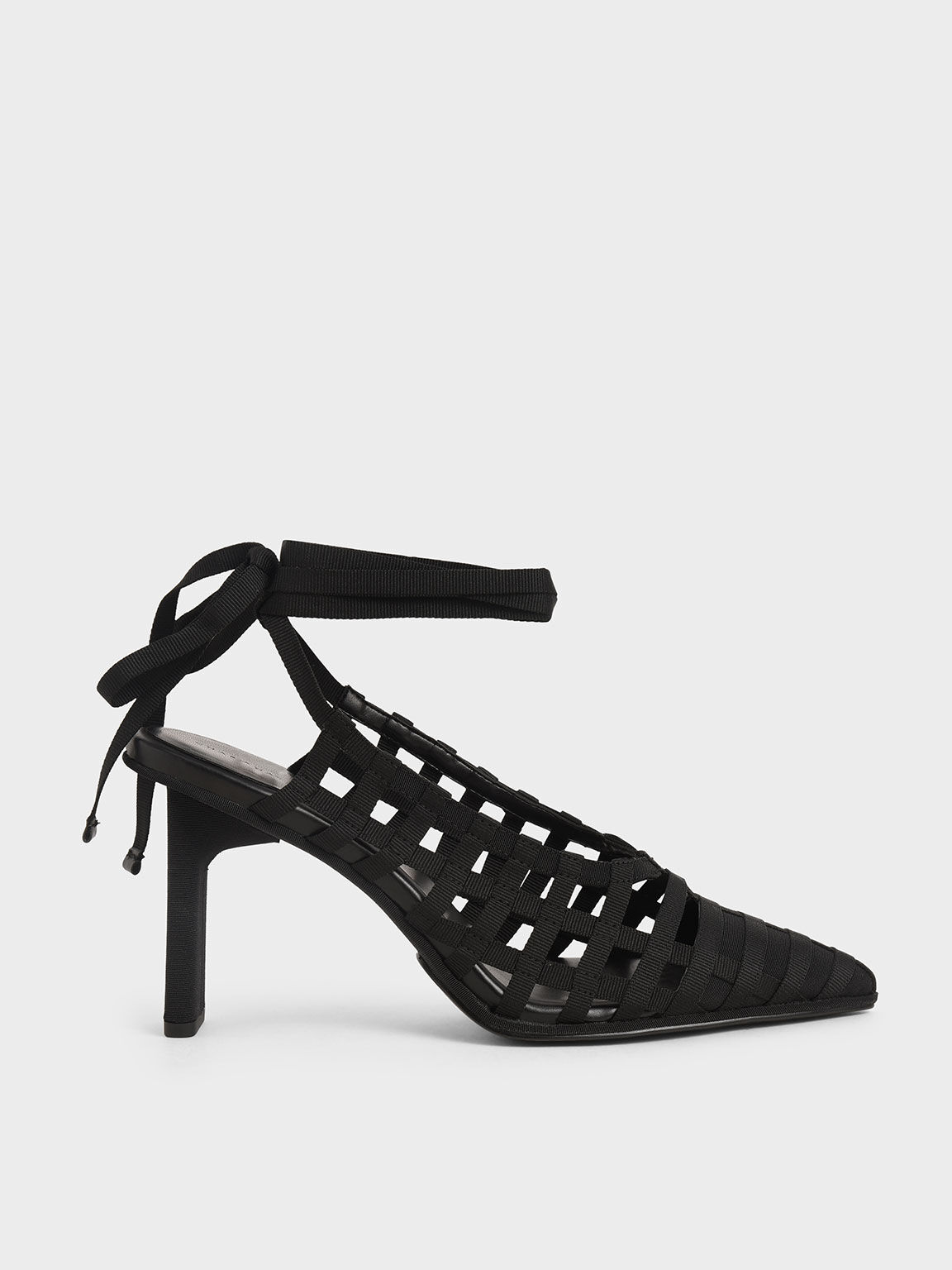 Grosgrain Tie-Around Caged Court Shoes, Black, hi-res