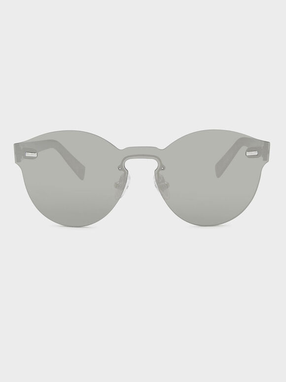 Oval Sunglasses, Silver, hi-res