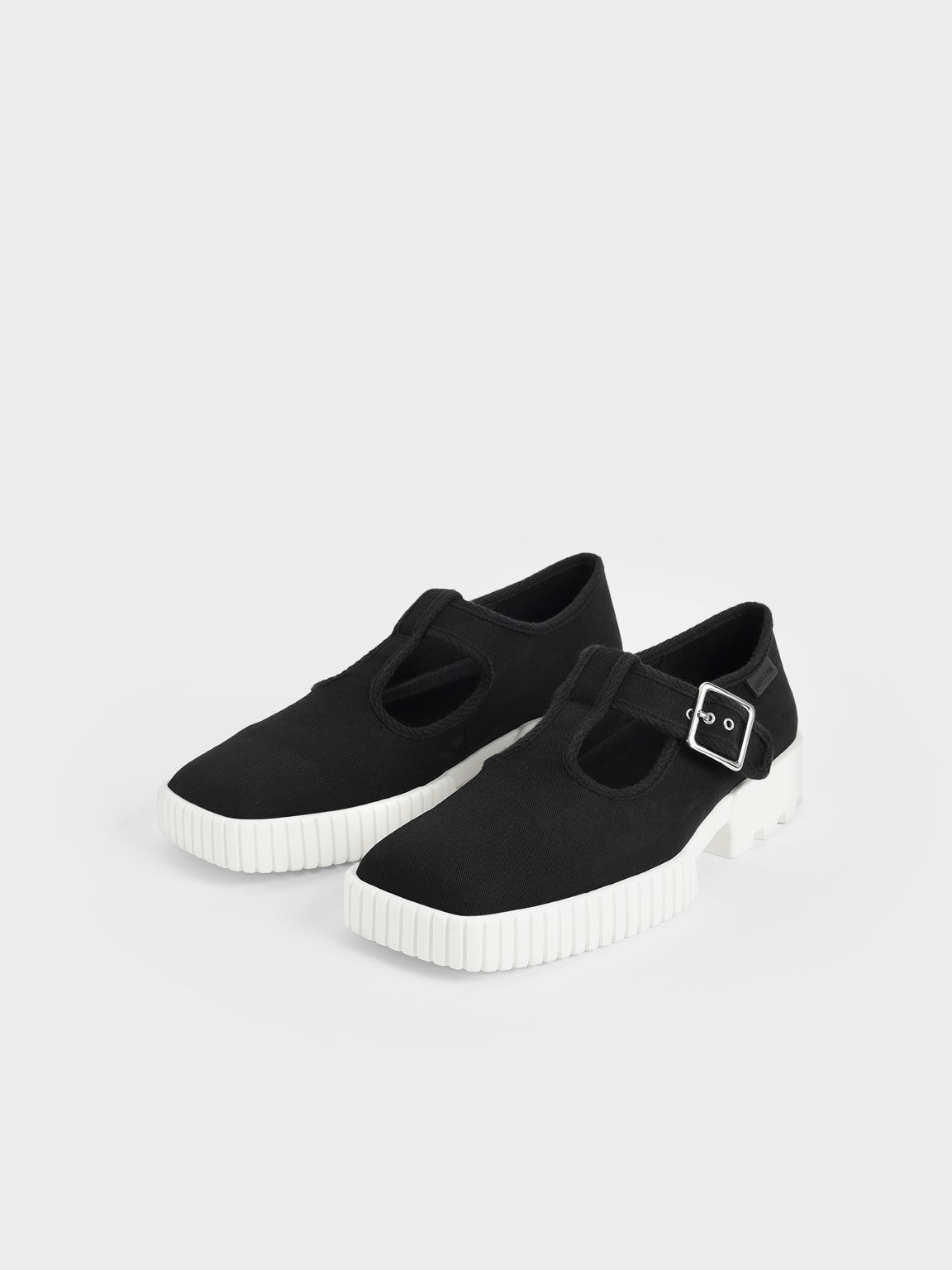 Recycled Cotton Buckle Sneakers, Black, hi-res