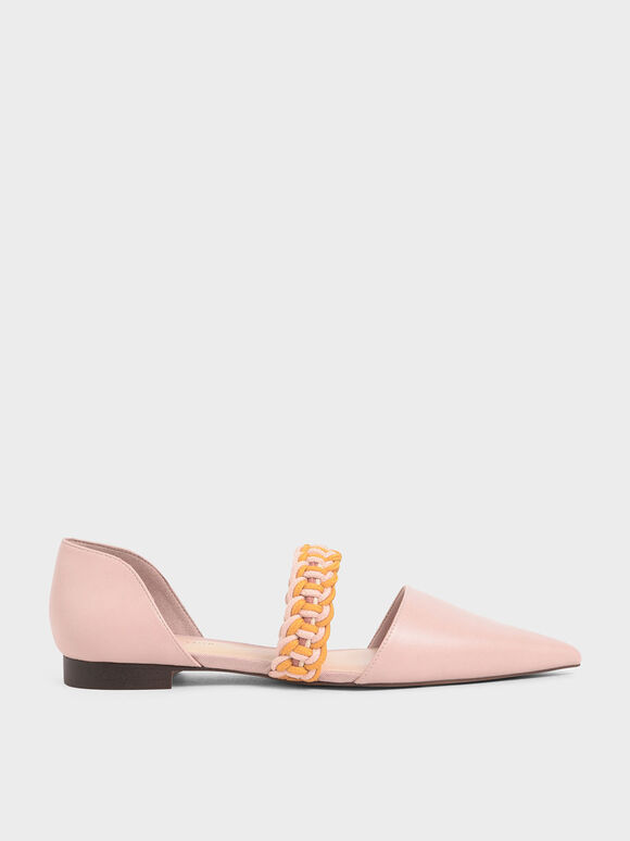 Braided-Strap Mary Jane Flats, Nude, hi-res