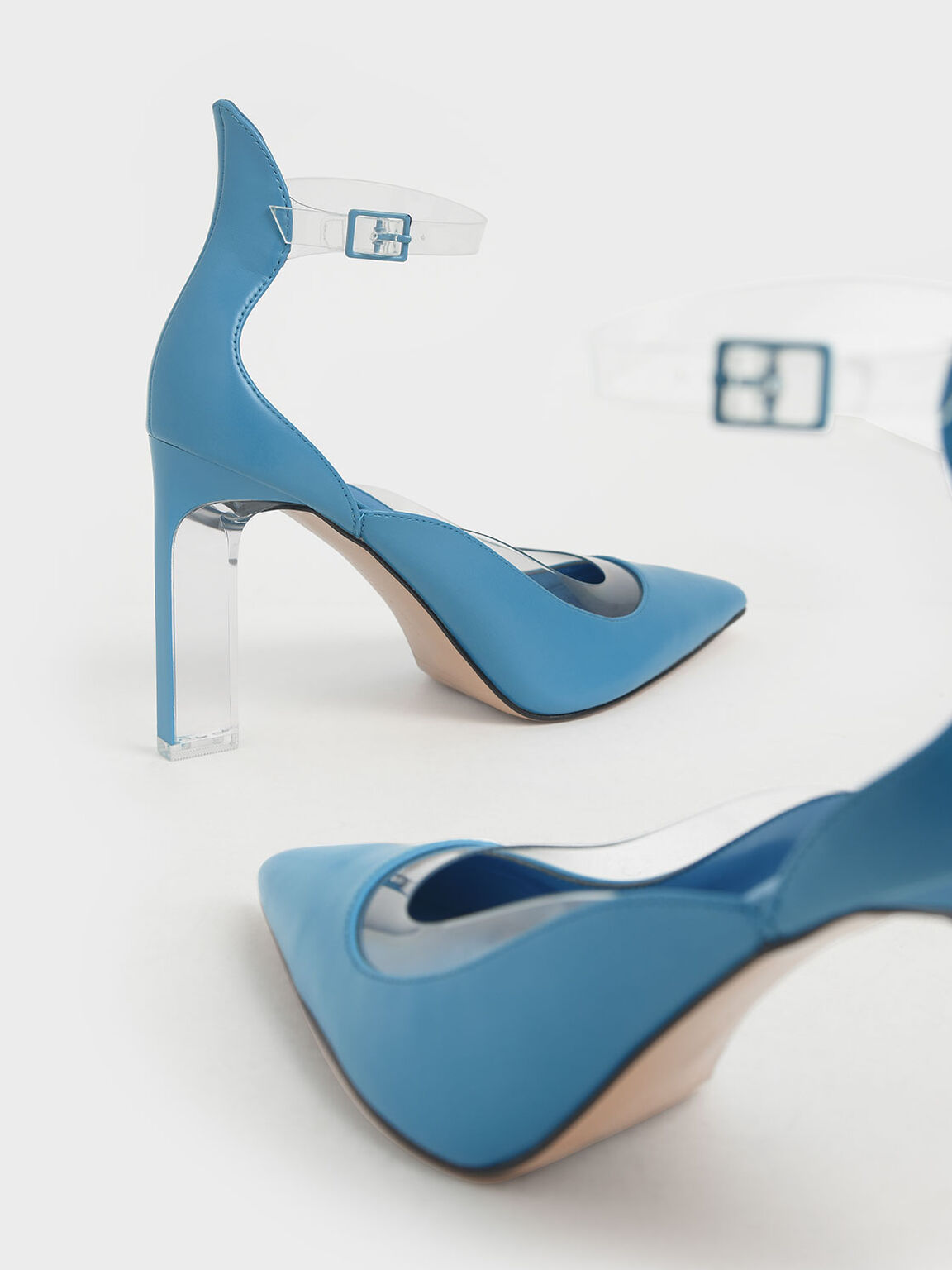 果凍拼接繞踝跟鞋, 藍綠色, hi-res