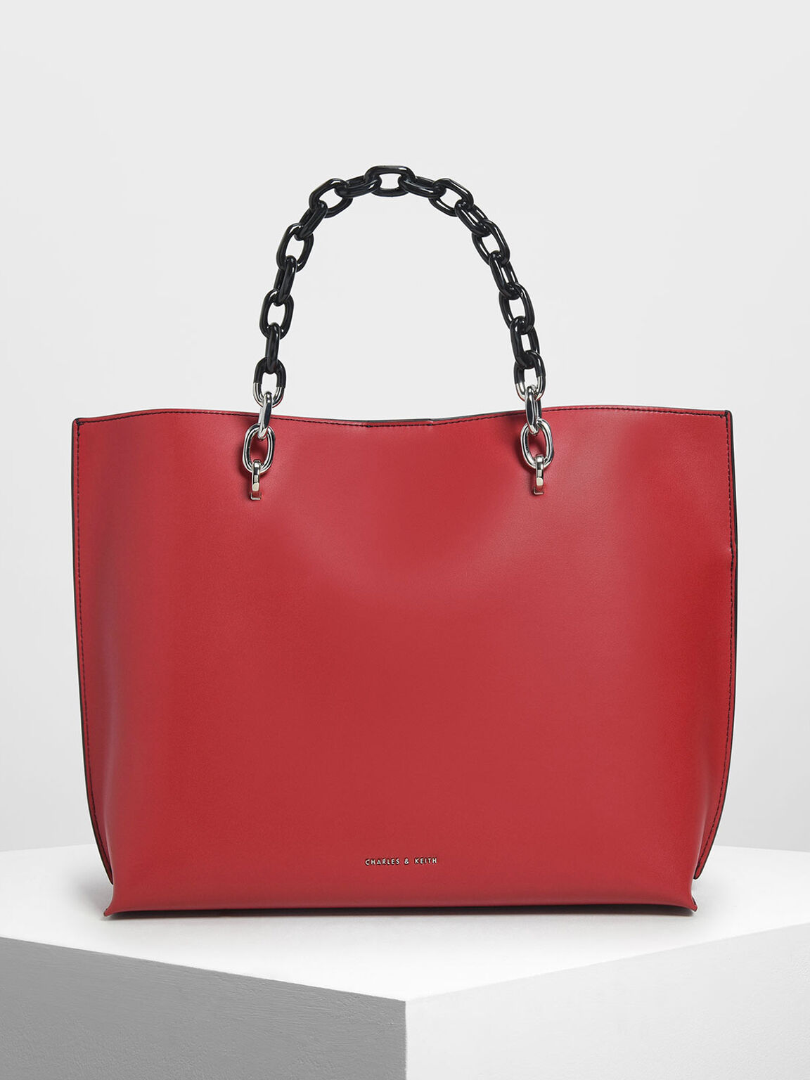 Double Chain Handle Tote Bag, Red, hi-res