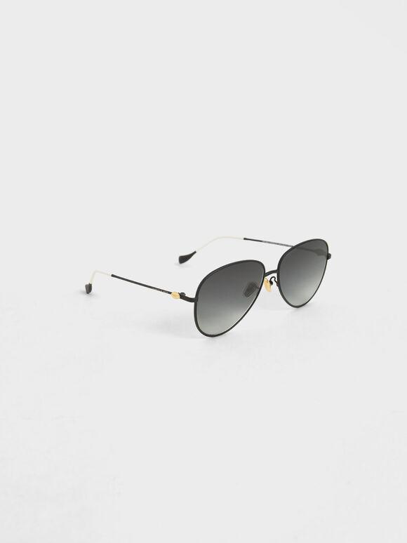 Aviator Sunglasses, Black, hi-res