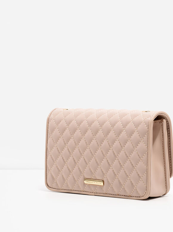 Quilted Chain Strap Bag, Nude, hi-res