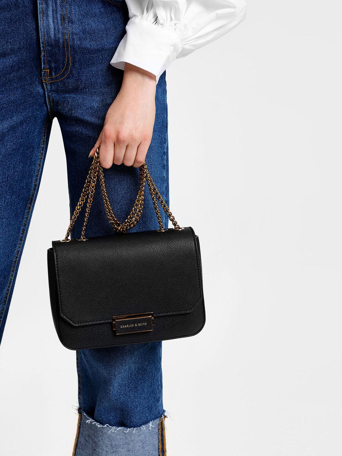 Classic Push-Lock Crossbody Bag, Black, hi-res