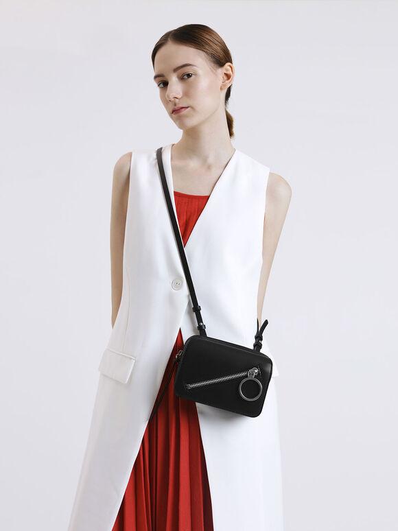 Ring Zip Pocket Two-Way Belt Bag, Black, hi-res