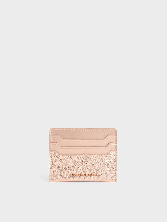 Glitter Card Holder, Rose Gold, hi-res