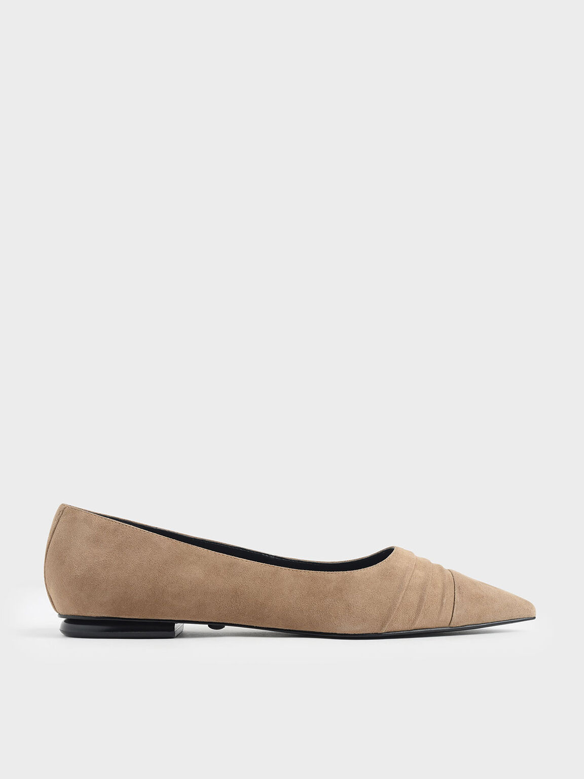 Ruched Ballerina Flats (Kid Suede), Taupe, hi-res