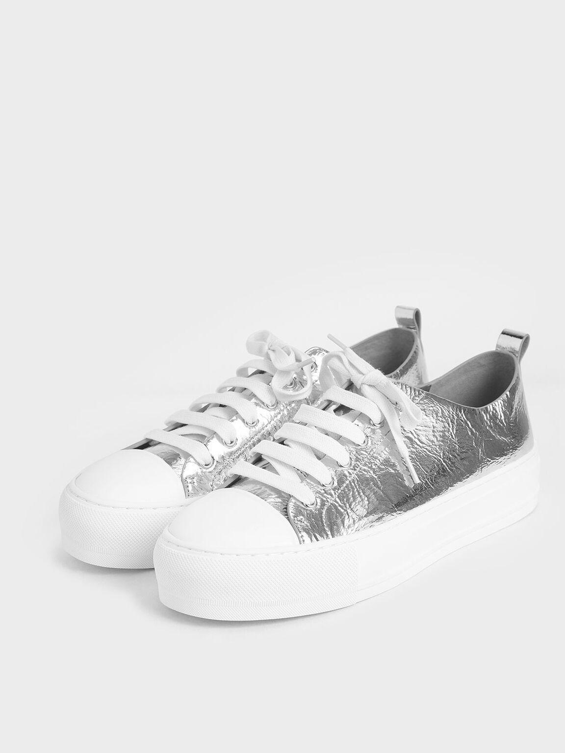 Metallic Platform Sneakers, Silver, hi-res