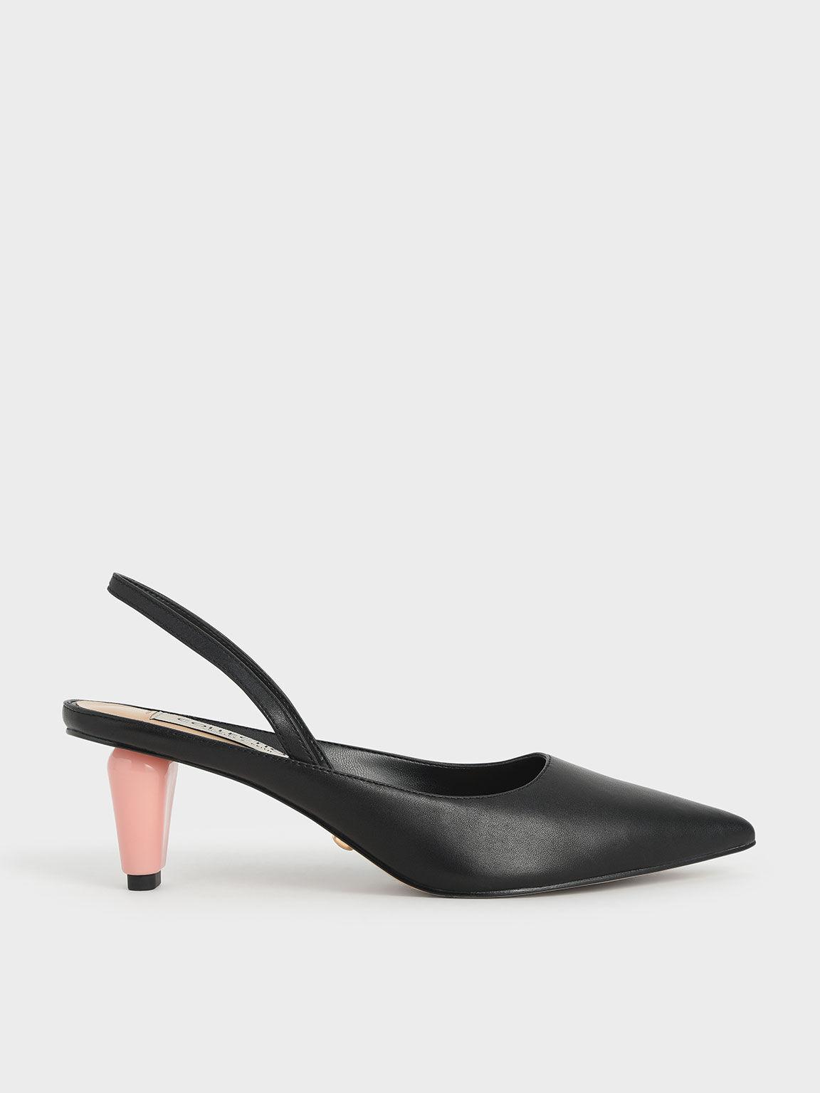 Leather Sculptural Heel Slingback Pumps, Black, hi-res