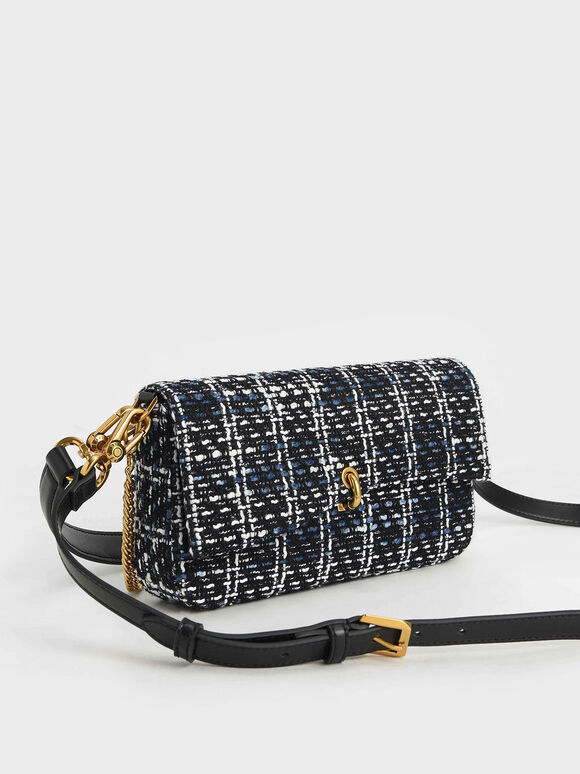 Tweed Chain Link Turn-Lock Bag, Multi, hi-res