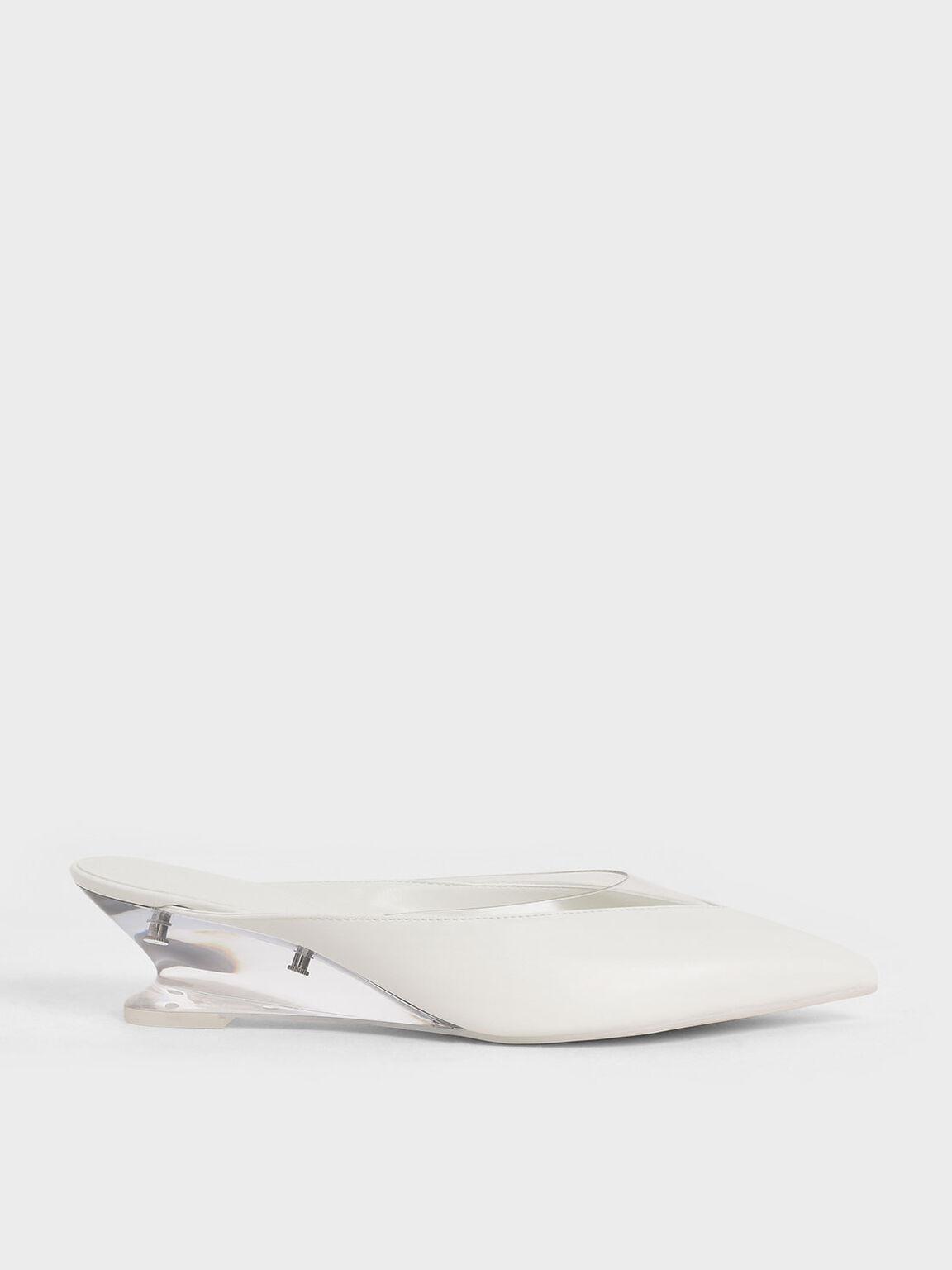果凍拼接楔型鞋, 白色, hi-res
