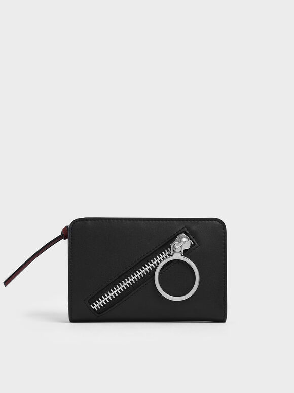 Ring Detail Zip Around Small Wallet, Black, hi-res