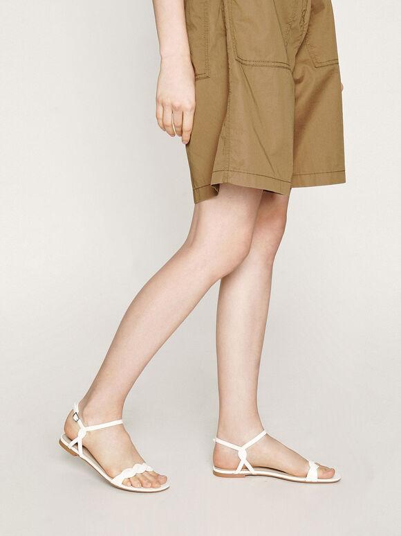 編織帶平底涼鞋, 白色, hi-res