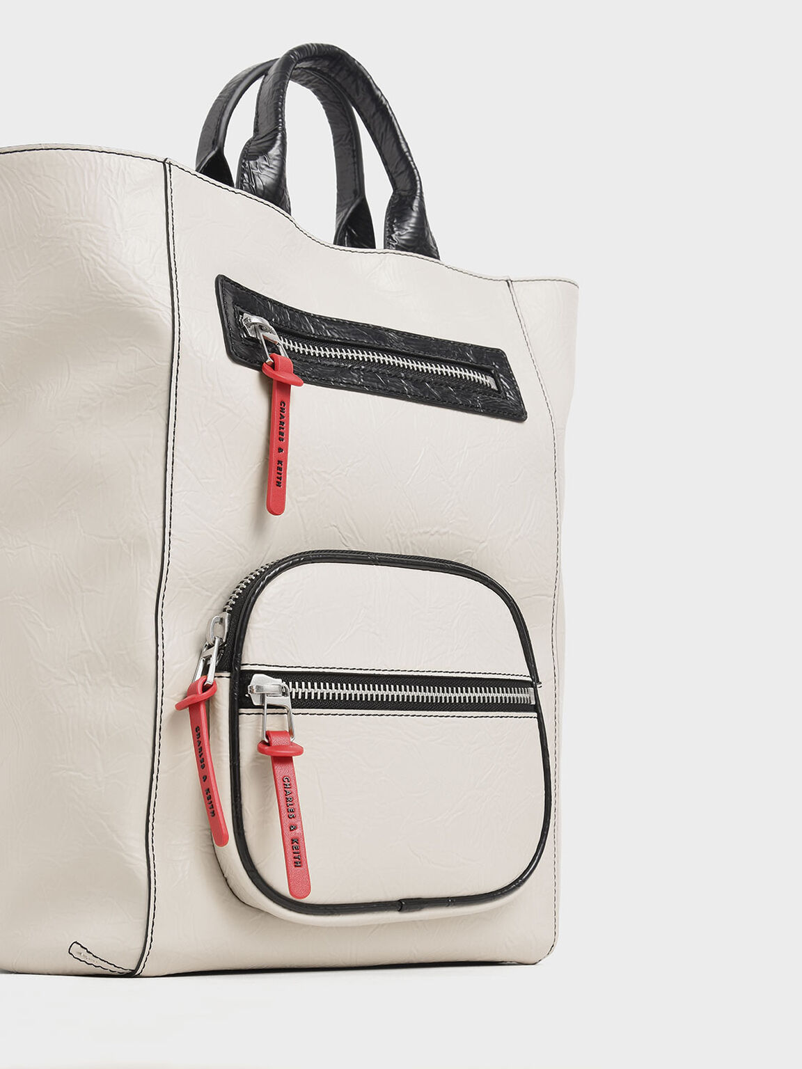 Wrinkled-Effect Double Top Handle Tote, Cream, hi-res