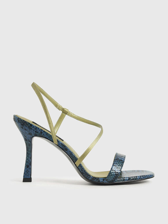 Snake Print Asymmetric Strap Heeled Sandals, Animal Print Blue, hi-res