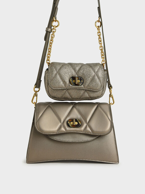 Padded Double Pocket Shoulder Bag, Bronze, hi-res