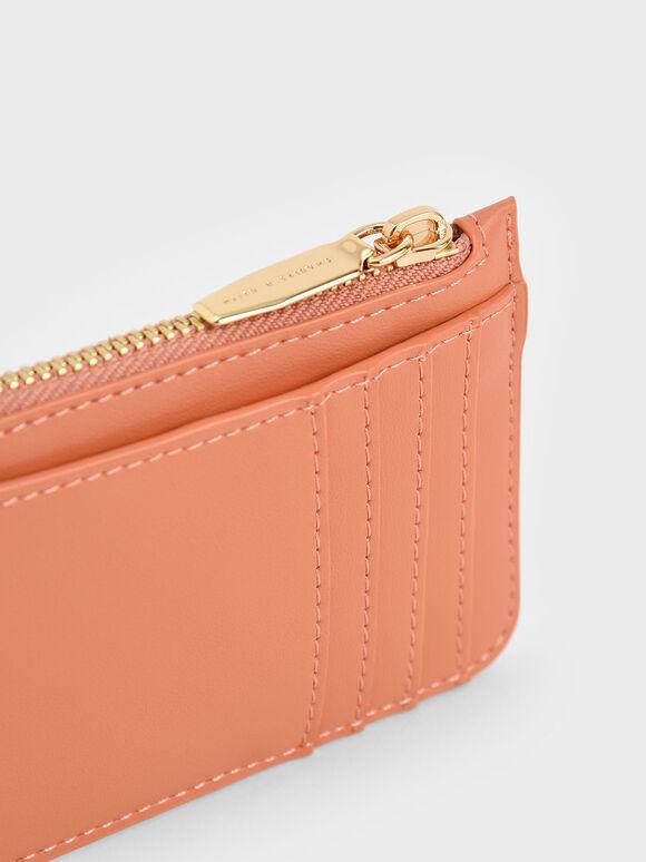 Top Zip Card Holder, Peach, hi-res